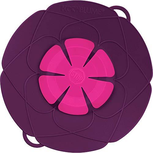 Kochblume das Original, Silikon Überkochschutz für Töpfe und Pfannen, Mikrowellen-Deckel, Spritzschutz und Dampfgar-Aufsatz | Set mit Zipptasche in der pinken Box (lila, M | Topfgröße 14-20cm)