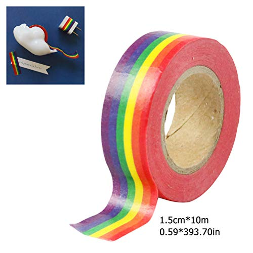 FuYouTa Cinta washi Cinta adhesiva Washi Tape Deco Álbum de recortes de cinta Artículos de papelería Álbum de recortes de oficina hágalo usted mismo con cinta adhesiva de color arcoiris de 100 cm