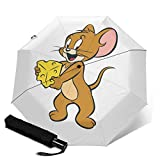 トムとジェリー (5) 自動三つ折り傘 折りたたみ傘 自動開閉 台風対応 梅雨対策 大きい 超撥水 おりたたみ傘 遮光 折り畳み傘 紫外線遮断 耐風撥水 軽量ポータブル耐久性 収納ポーチ付き