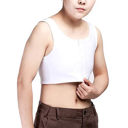 ZAYZ Mujer Algodn Transpirable Slim Fit Carpeta de Pecho de Media Longitud con Cremallera para Sujetador Deportivo Cors (Color : White, Size : Medium)