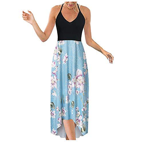Lalaluka Sommerkleide Damen Strandkleid langSexy Spleißen Spaghetti Druck Trägerkleid Blumenkleid Strandkleid MaxiKleid