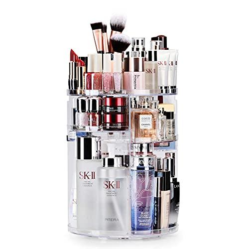 Auxmir Organizador de Maquillaje de Rotación 360°, Organizador Cosmético de Belleza Ajustable, Caja Cosmética de Maquillaje para Tocador, Baño, Dormitorio, Transparente
