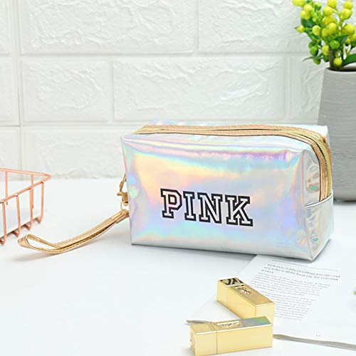 Mode étanche Laser Sacs cosmétiques Femmes Make Up Bag PVC Pouch Wash Sacs Voyage Organisateur Cas Toilette (Color : Silver Square)