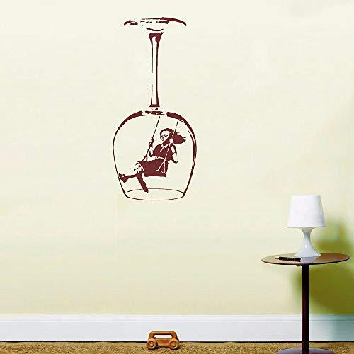 ASFGA Becher schwingende Mädchen Wandaufkleber Graffiti Straßenkultur Weinglas Vinyl Aufkleber Wohnkultur Küche Restaurant Aufkleber Bar Club 57x26cm