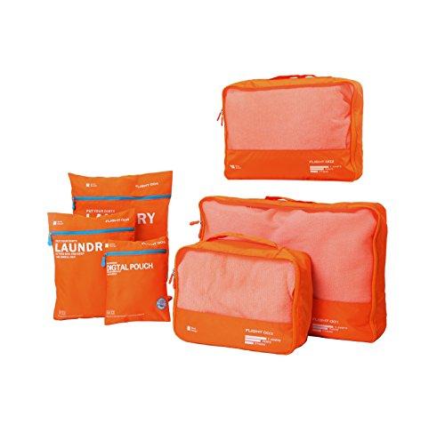 DoubleVillages 6 Set Organizer per valigie / Cubi Di Imballaggio Viaggi Organizzatore / Impemeabile Borsa da Toilette/ Borsetta da Viaggio/ Organizzatore Portatrucchi / Impemeabile Borsa da Toilette / Borsetta da Viaggio -Arancia