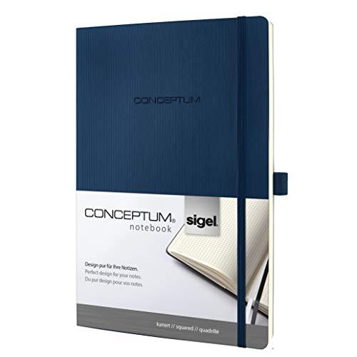 SIGEL CO316 Conceptum - Libreta con tapa blanda, 18.7 x 27 cm, cuadriculado, color azul oscuro