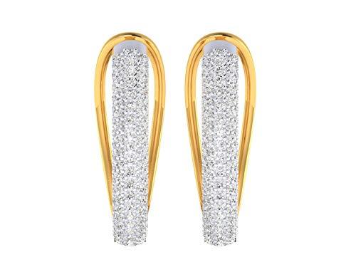 VVS 2.36 Ctw diamante natural con 18K blanco/amarillo/rosa pendientes de aro de oro para las mujeres con certificado IGI