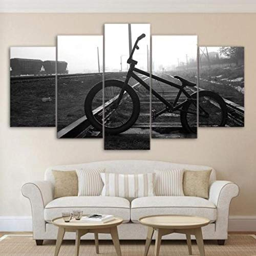 ELSFK Wall art canvas 5 Piece Wall Art Picture Bicycle Bike Prints On Canvas Pictures For Home Modern Decoration HD Print Decor For Living Room,bedroom etc wall Decoration 150cm x 80cm