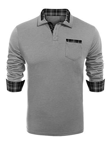 COOFANDY Men's Classic Fit Casual Long Sleeve Plaid Collar Polo Shirt,Medium,Long Sleeve Grey