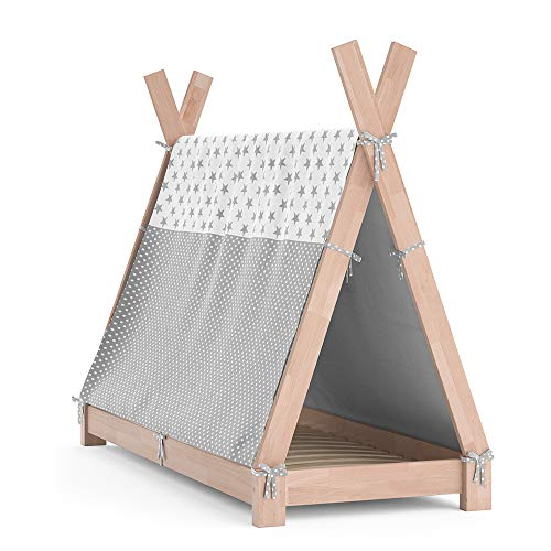 VitaliSpa Kinderbett Tipi Hausbett Indianer Bett Kinderhaus Massivholz Zelt Holz (Natur, 70 x 140 cm + Überwurf)