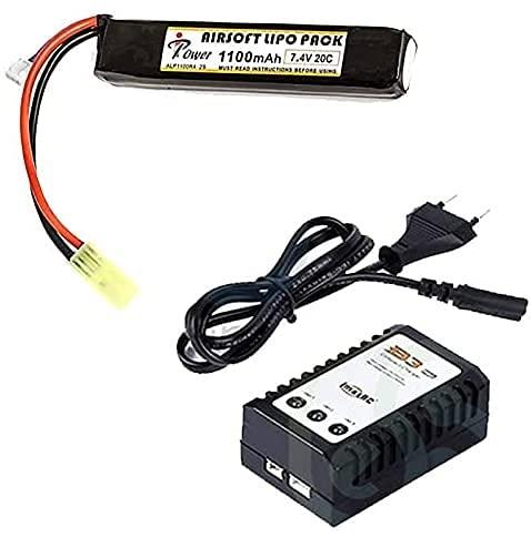 Batería li-po de 7,4 V y 1100 mAh y Cargador de baterías li-po. Recomendado para réplicas Tipo M4 y G36C