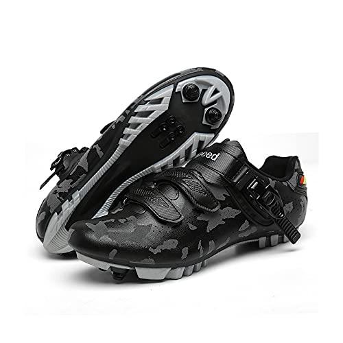 Zapatos de ciclismo para hombre con aspecto para mujer con zapatos de montaña compatibles SPD Cleat Spinning Peloton para interior/exterior (tamaño: 47-295 mm, color: gris montaña)