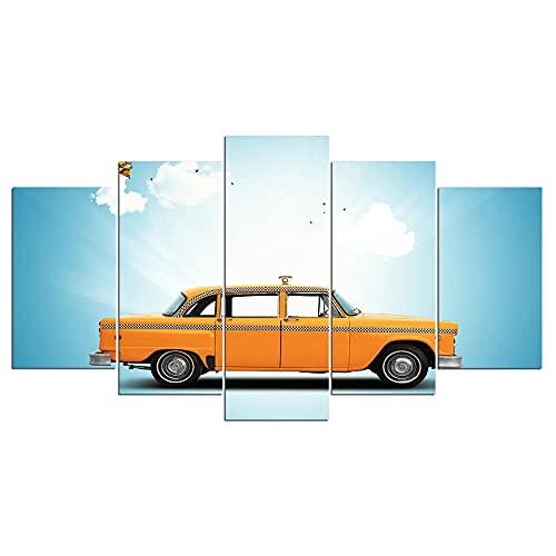yuanjun Wanddekoration Design Wandbild 5 Teilig Premium Poster Stilvolles Set Mit Passenden Bilder Als Wohnzimmer Deko Bilderrahmen Leinwandbild Laufendes Auto Unter Blauem Himmel Gemälde
