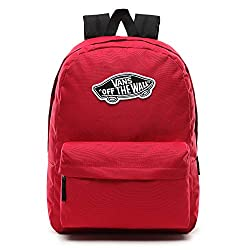 """100% polyester backpack featuring one large main compartment Laptop sleeve that fits most 15"""" laptops Front zip pocket with organizer Capacity: 22 Liters Vans logo details on the front Cerise a deep to vivid reddish pink, Cerise is a rose-red color"""