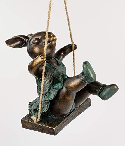 Magnesia Ballett Hase Agatha auf Schaukel sitzend Bronze-Antik Dekofigur Ostern