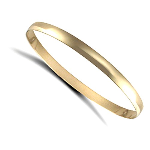 Jewelco London Ladies Solid 9ct Yellow Gold D-Shape 5mm Bangle Bracelet