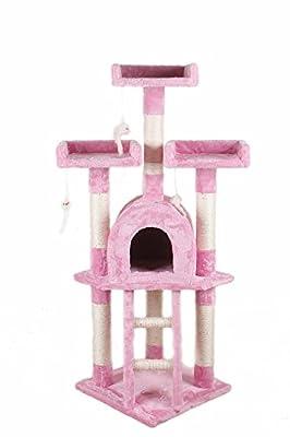 SavingPlus Cat Scratching Post Scratcher Tree Activity Toy Pet Playing Centre Climbing 40x40xH115cm