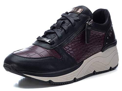 XTI - Zapatilla para Mujer - Cierre con Cordones - Color Burdeos - Talla 37