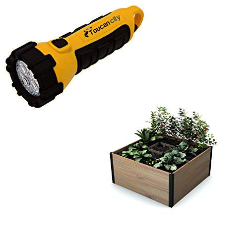 Toucan City LED Flashlight and New England Arbors Mezza 48 in. x 48 in. x 22 in. Golden Brown Wood Raised Composting Garden VT17701