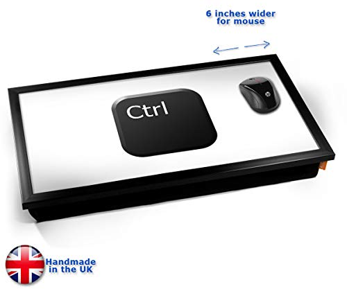 Key Ctrl Black Cushioned Bean Bag Laptop Lap Tray Desk - Built-in EMF Shield (Electro Magnetic Field) Kissen Tablett Knietablett Kissentablett - Schwarzer Rahmen