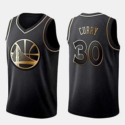 DCE Herren Trikot Stephen Curry Golden State Warriors # 30 Basketball Uniform Mesh Trikot Jugend City Edition Trikot Kurzarm-Sportoberteil Swingman Jersey Basketball Trikot (Schwarz & Gold, L(50))