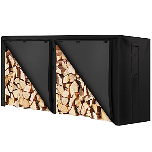 Amagabeli 8ft Firewood Log Rack Cover Weather Resistant Outdoor Heavy Duty Waterproof 600D Oxford Fabric Fireplace Logs Holder Covering Fire Wood Storage Covers with PVC Backing Black