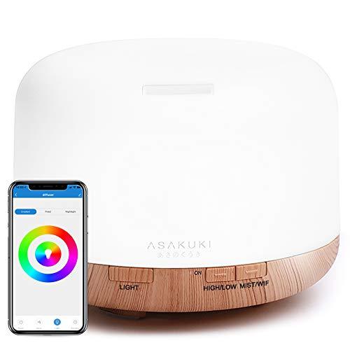 ASAKUKI Wi-Fi Smart eterisk oljediffusor Echo Alexa Control, 500 ml 5 i 1 ultraljud aromaterapi Doftande oljevaporizer luftfuktare, timer och automatisk avstängning säkerhetsbrytare, 7 LED-ljusfärger