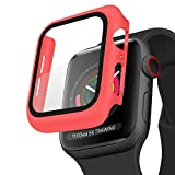 Case for Apple Watch 44mm Series 6/5/4/SE, Built-in Tempered Glass Screen Protector, Hard PC Protector Cover for iWatch 44mm (44MM, Red)