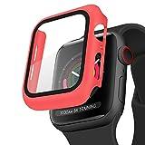 Mugust Funda Compatible con Apple Watch 40mm 44mm Series 5/4/6/SE Protector, PC Case y Protector Pantalla para iWatch Series 5/4/6/SE (44mm Rojo)