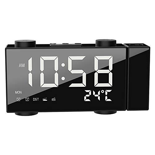 ZzheHou WeckerLCD Digital Projection Wecker Mit Datum Dual Alarm Snooze Funktion Drahtlose Wetterstation UhrStiller Nachtwecker (Size:One Size; Color:White)