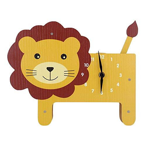 Belleashy - Reloj de pared para niños, diseño de animales, con texto en inglés