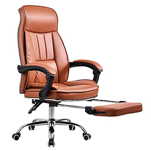 FACAZ Office Chairs Ergonomic Office Chair Computer Chair Home Office Office Chair Task Chair Leather Swivel Chair Recliner Chair Desk Chairs (Color : Brown, Size : With feet)