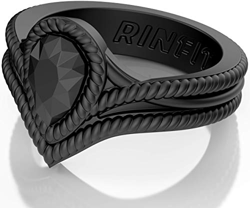 Rinfit Silicone Wedding Ring for Women 2 Rings Pack. Designed Soft Silicone Rubber Bands. U.S. Design Patent Pending. Size 4-10 (Size 5, Black. #sd09)