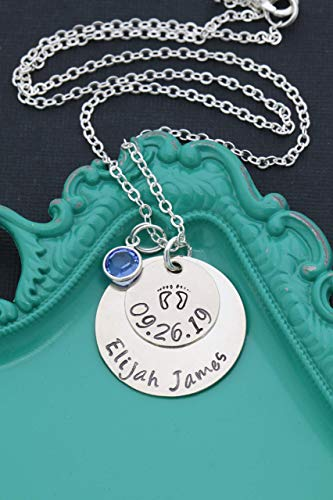 New Mom Gift - Personalized Name, Date, Birthstone Crystal - Handstamped 5/8 1 Inch Discs - Mother Baby Footprints Jewelry - DII ABC