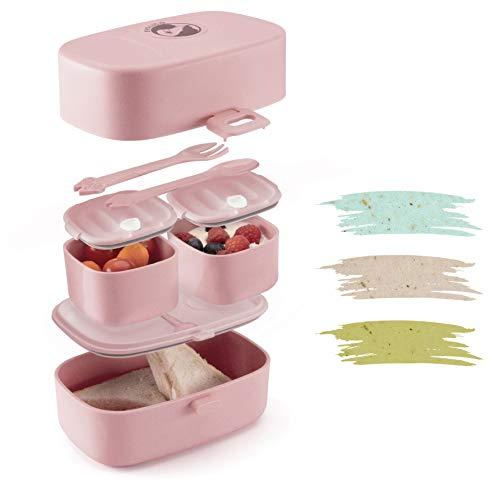 Evolico ♻ Nachhaltige Lunchbox für Kinder - Inkl. eBook mit süßen Rezeptideen - Brotdose Kinder mit 3 Fächern - Perfekt für Kindergarten und Grundschule - Auslaufsicher und Handlich (Rosa)