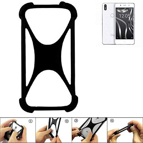 K-S-Trade Handyhülle Für BQ Aquaris X5 Plus Schutz Hülle Silikon Bumper Cover Case Silikoncase TPU Softcase Schutzhülle Smartphone Stoßschutz, Schwarz (1x)
