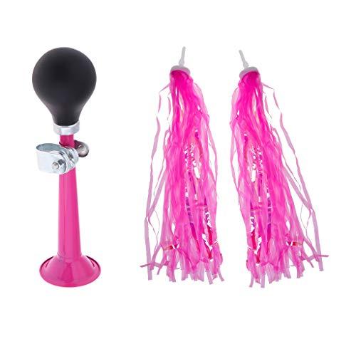 MagiDeal Kinder Fahrradklingel + Lenkerfransen Lila Pink Streamer Bändchen Kinderfahrrad Dekoration - Rosa