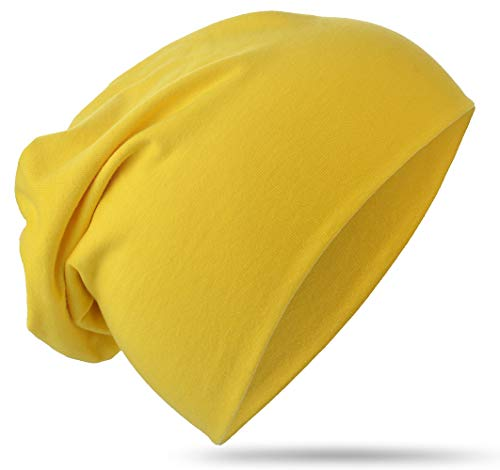 Berretto lungo in jersey, da bambino, unisex, in cotone, tinta unita Gelb X-Small