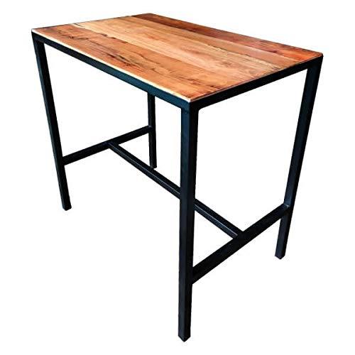 MATHI DESIGN Atelier - Table Haute rectangulaire Bois Massif et Acier