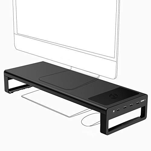 Vaydeer USB 3.0 Monitorständer mit kabelloser Aufladung Aluminium Monitor Stand Riser Unterstützt Datenübertragung, Metall Monitor Ständer Unterstützt bis zu 32 Zoll für Computer, Laptop - Schwarz