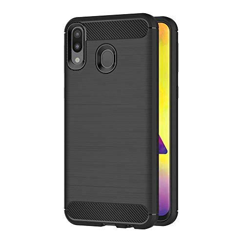 MaiJin 対応サムスンギャラクシー Samsung Galaxy M20 (6.3インチ) 衝撃吸収 ケース スリム 軽量 炭素繊維TPU保護カバー (ブラック)
