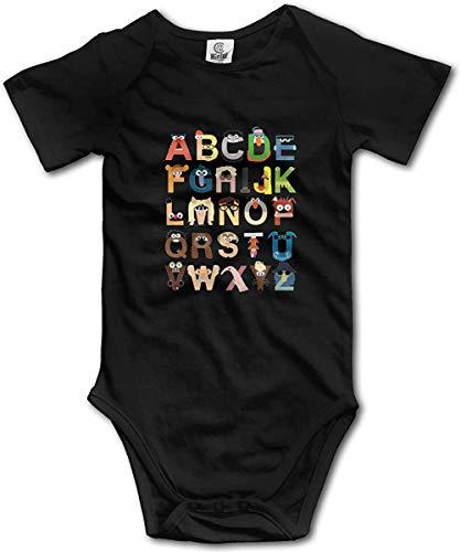 Pengshiliu Muppet Alphabet Baby Short Sleeve Bodysuit Onesies Rompers Bodysuit for Boys and Girls Black