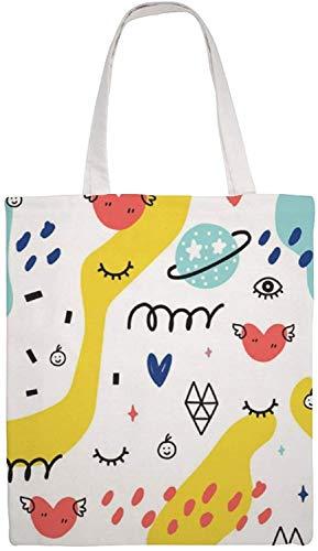 MODORSAN Summer Doodle Pattern (10) Bolso de hombro Bolso de mano de lona, Bolsos de tela reutilizables para compras de comestibles, Bolsos de mano de impresión a doble cara