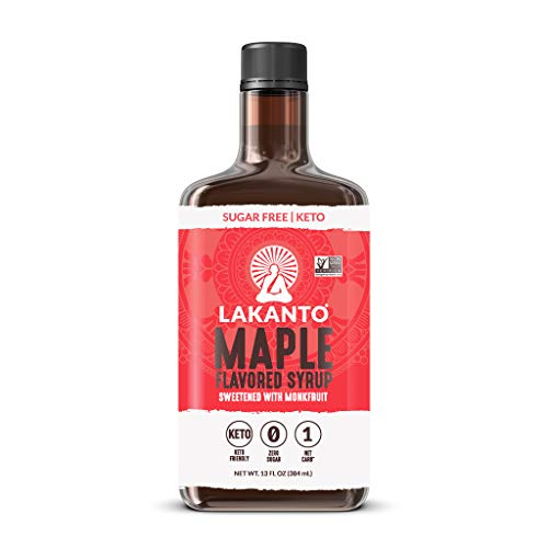 Lakanto Maple Flavored Syrup, Vegan Gluten Free Zero Glycemic Sugar Free Syrup, Low Carb Keto Syrup Sweetener, (13 fl oz) (Pack of 1)