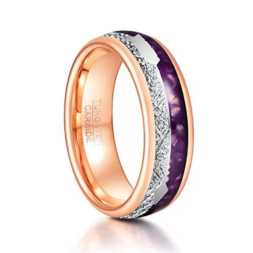 TUNGSTORY Herren 8mm Wolframcarbid Ring Inlay Meteorit Lila Achat Pfeil Comfort Fit Größe 65(20.7)