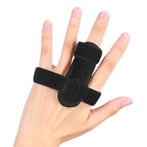 Trigger Finger Splint Pinky, Half Finger Stabilizer Finger Straightening Immobilizer with Aluminium Support for Mallet Finger, Bent, Locked and Stenosing Tenosynovitis Hands Pain Relief(Black)