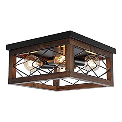 Farmhouse Wood Flush Mount Ceiling Light Fixture Black Metal Rustic Close to Ceiling Light Industrial Rectangle Ceiling Light with 4 E26 Blub Socket for Farmhouse Kitchen Dining Roomitchen Dining Room