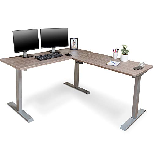 BRODAN Electric Standing L Desk with Power Charging Station, Adjustable Height Sit Stand Home Office Desk, L Shaped Computer Desk, 67x59 inches Corner Stand Up Desk, Oak Top with Gray Frame [Updated]