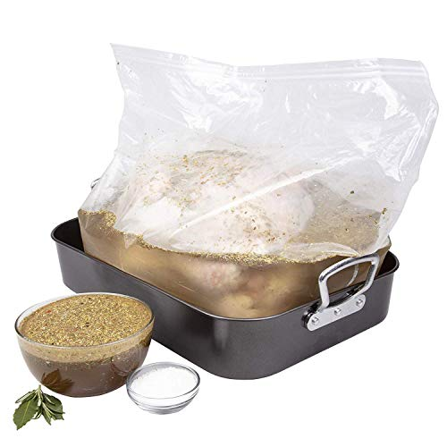 Turkey Brine Kit for up to 25 Lbs Turkey - Includes Extra Large Double-Sealed Brining Bag, Brine Seasoning Packet Mix and Instructions - Made in the USA Perfect for Thanksgiving and Christmas Dinners