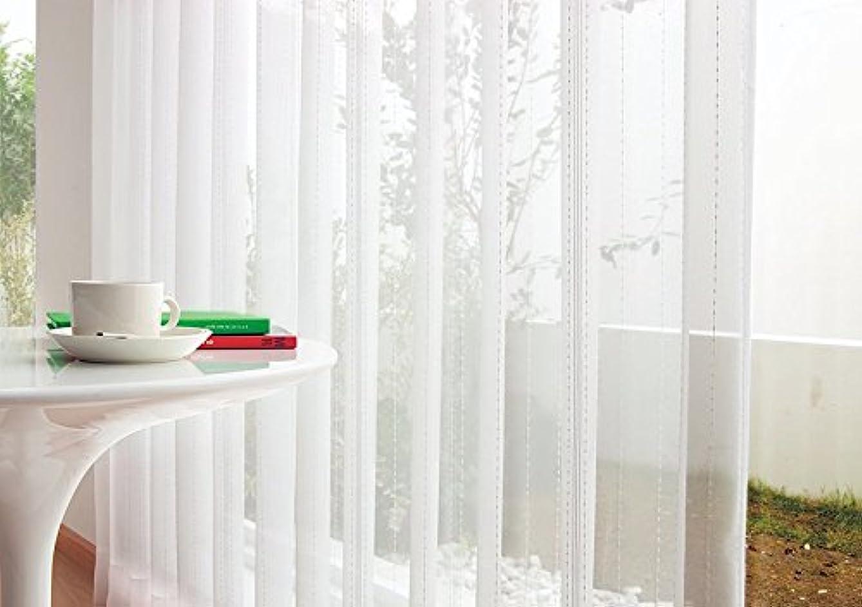 欠陥音楽を聴くファンブル東リ 小さなボンボンが可愛らしいボイル カーテン2.5倍ヒダ KSA60412 幅:100cm ×丈:100cm (2枚組)オーダーカーテン